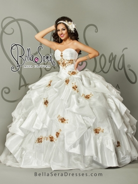 Discount 2015 Detachable White Quinceanera Dress with Appliques and Beading BLAS008
