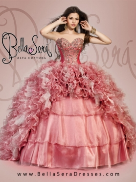 Discount 2015 Exquisite Beading and Ruffles Dress For Quinceanera Party in Pink BLAS012
