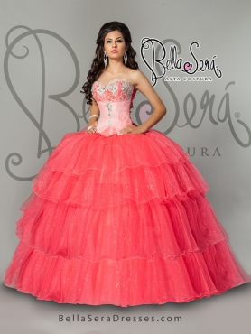Discount Ball Gown Coral Red Sweetheart Quinceanera Dresses with Layers and Appliques BLAS006