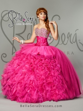 Discount Ball Gown Hot Pink Quinceanera Dresses with Beading and Ruffles for 2015 BLAS004