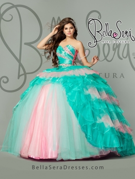 Discount Delicate Beading and Ruffles Quinceanera Gowns in Multi-color For 2015