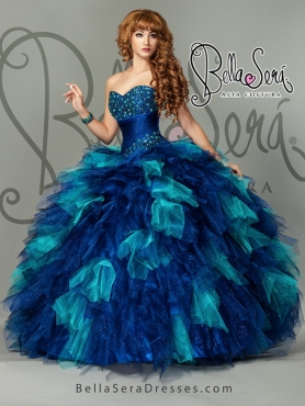 Discount Detachable and Unique Multi-color Sweet 15 Dress with Beading and Ruffles For 2015 BLAS015