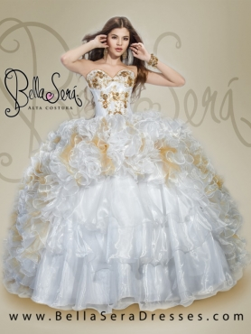 Discount Detachable White Quinceanera Dress with Appliques and Ruffles For 2015 BLAS011