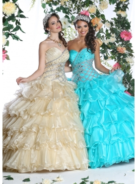 Discount 2014 Classical Multi-color Quinceanera Dress with Appliques and Ruffles DVIC015