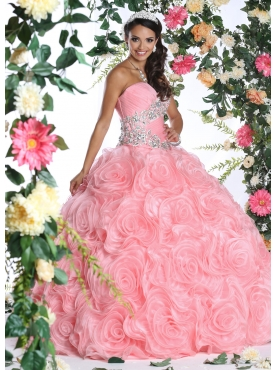 Discount 2015 Exquisite Appliques and Rolling Flowers Quinceanera Dress in Rose Pink DVIC016