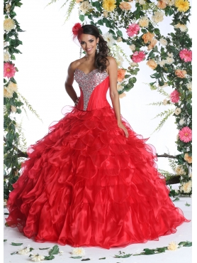 Discount 2015 New Arrival Red Quinceanera Dress with Ruffles and Beading DVIC011