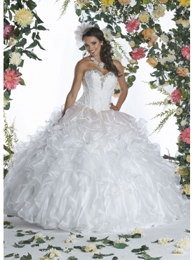 Discount 2015 White Quinceanera Dress with Beading and Ruffles DVIC002