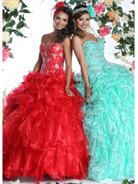 Discount Customize Sweetheart Turquoise Sweet 16 Dress with Appliques DVIC010