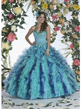 Discount Discount Beading and Ruffles Sweetheart Blue Sweet 16 Dress DVIC001