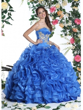 Discount Exquisite Appliques and Rolling Flowers Royal Blue Sweet 15 Dress For 2015 DVIC017