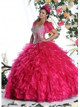 Discount Sweetheart Hot Pink Quinceanera Dress with Beading and Ruffles for 2015 DVIC006