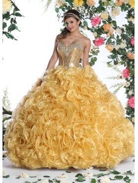 Discount Unique Sweetheart Gold Quinceanera Dress with Beading DVIC009