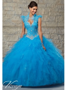 Discount 2015 Spring Discount Appliques and Ruffles Sky Blue Sweet 16 Dress MRLE012