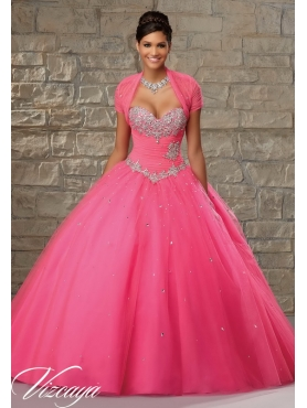 Discount Affordable Hot Pink Dress for Quinceanera with Beading and Appliques MRLE008