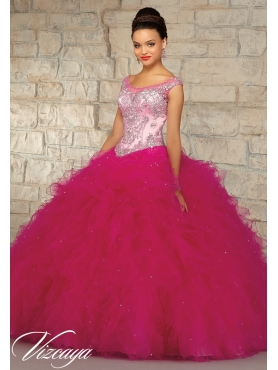 Discount Hot Sales Appliques and Ruffles Fuchsia Dress for Quince MRLE015