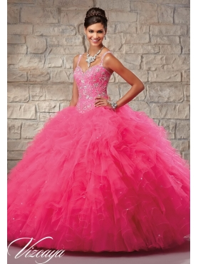 Discount Luxurious Hot Pink Sweet 15 Dress with Beading and Ruffles for 2015 MRLE007