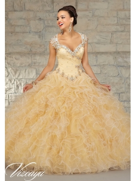 Discount Super Hot Beading and Ruffles Quinceanera Dress in Champagne MRLE013