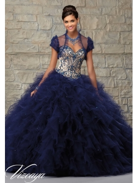 Discount Trendy Navy Blue Quince Dress with Appliques and Ruffle for 2015 MRLE018