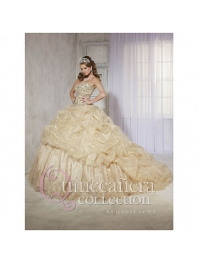 Discount 2015 Brand New Beading Sequins Quinceanera Dresses in Champagne HOFW018