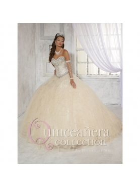 Discount 2015 Champagne Sweetheart Beading and Ruffles Organza Quinceanera Dresses HOFW029