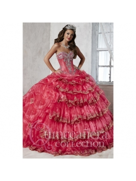 Discount 2015 Classical Coral Red Dress for Quinceanera with Appliques and Ruffled Layers HOFW014