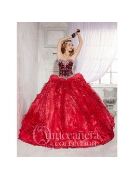 Discount 2015 Luxurious Beading and Ruffles Quinceanera Dresses with Brush Train HOFW022