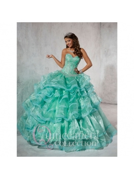 Discount 2015 Perfect Beading and Ruffles Quinceanera Dresses in Turquoise HOFW030
