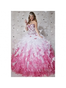 Discount 2015 Top Seller Beading and Ruffles Sweet 15 Dresses in White and Pink HOFW013