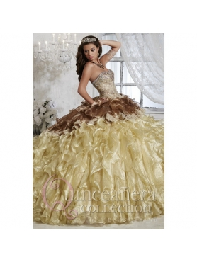 Discount 2015 Trendy Champagne Sweet 15 Dresses with Appliques and Ruffles HOFW012