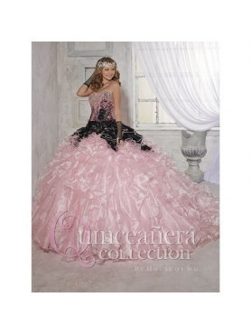 Discount 2015 Wonderful Beading and Ruffles Quinceanera Dresses in Pink HOFW026