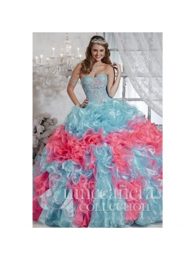 Discount Affordable Multi-color Sweet 15 Dresses with Beading and Ruffles for 2015 Spring HOFW010