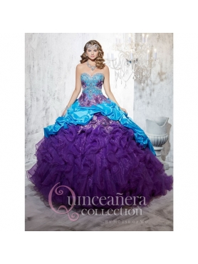 Discount Ball Gown Beading and Ruffles 2015 Modest Multi-color Quinceanera Dresses HOFW025