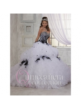 Discount Beading and Appliques 2015 Quinceanera Dresses in White and Black HOFW023