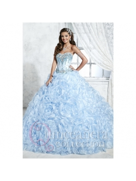 Discount Custom Made Baby Blue Sweet 16 Dresses with Beading and Ruffles HOFW015