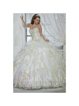 Discount Customize Beading and Ruffles Quinceanera Dress in White HOFW005