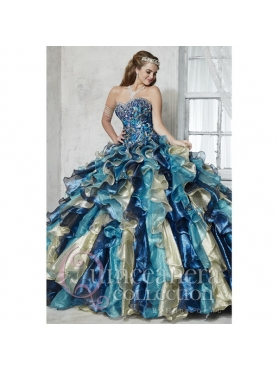 Discount Fashionable Multi-color Quinceanera Dresses with Appliques and Ruffles for 2015 HOFW011