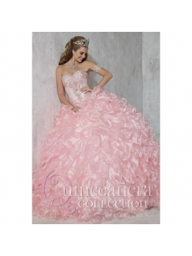 Discount Luxurious Baby Pink Sweet 16 Dresses with Appliques and Ruffles for 2015 HOFW006