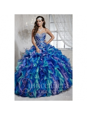 Discount Popular Beading and Ruffles Sweet 15 Dresses in Multi-color HOFW007