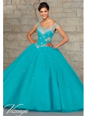 Discount Top Sller Beading and Appliques Quince Dress in Turquoise  MRLE011