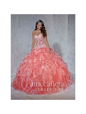 Discount Watermelon Red Sweetheart Ruffles and Appliques Quinceanera Dresses for 2015 HOFW021