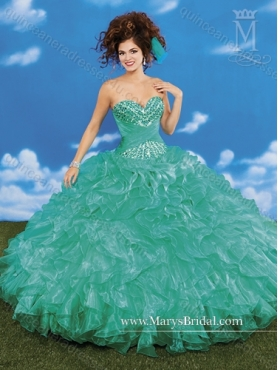 Discount 2015 Beautiful Sweetheart Beading and Ruffles Quinceanera Dresses MRYS038