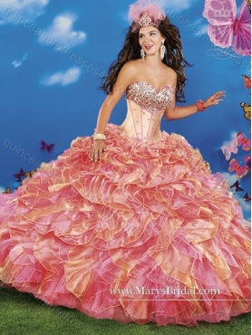 Discount 2015 Cute Beading and Ruffles Sweetheart Quinceanera Dresses in Multi Color MRYS025