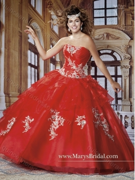 Discount 2015 Elegant Strapless Red Quinceanera Dresses with Appliques MRYS007