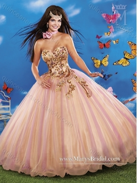 Discount 2015 Elegant Sweetheart Ball Gown Quinceanera Dresses with Beading and Appliques MRYS033