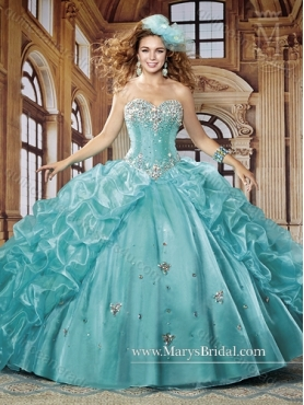 Discount 2015 Fashionable Ball Gown Sweetheart Quinceanera Dresses with Beading and Ruffles MRYS006