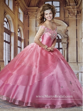 Discount 2015 Gorgeous Off  The Shoulder Pink Quinceanera Dresses with Beading MRYS003