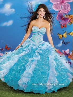 Discount 2015 Modest Beading and Appliques Sweetheart Quinceanera Dresses with Ruffles MRYS031