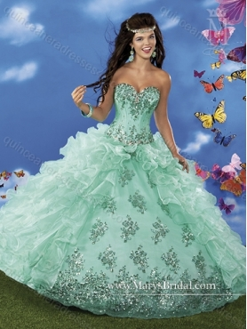 Discount 2015 New Style Sweetheart Beading and Ruffles Quinceanera Gown MRYS030