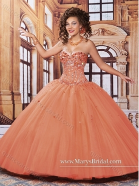 Discount 2015 New Style Sweetheart Orange Red Quinceanera Dresses with Beading MRYS012