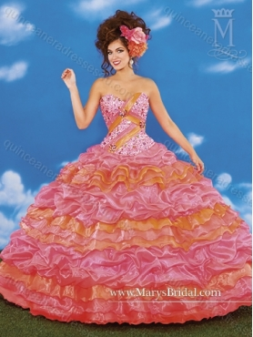 Discount 2015 Sweet Beading and Ruffled Layers Sweetheart Quinceanera Dresses in Multi Color MRYS034